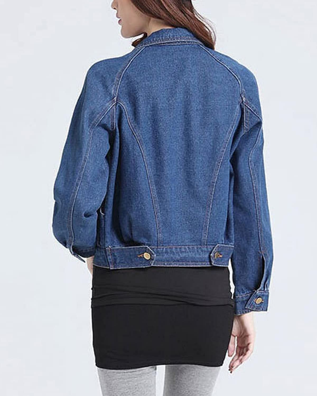 Shiyifa Women's Short Denim Coat Long Sleeve Slim Fit Button Down Jeans Jacket Tops Outwear