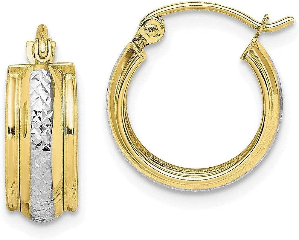 Jewelry-10K & Rhodium Diamond Cut Small Hoop Earrings