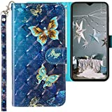 CLM-Tech Hülle kompatibel mit Xiaomi Redmi Note 8 Pro - Tasche aus Kunstleder - Klapphülle mit Ständer & Kartenfächern, Schmetterlinge blau lila Gold