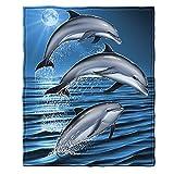 Dawhud Direct Dolphins Super Soft Plush Fleece Throw Blanket
