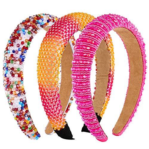Diademas acolchadas con diamantes de imitación para mujer, de terciopelo con cuentas anchas, para el pelo, para fiestas, bodas, accesorios para el pelo, paquete de 3 (rosa, naranja, arcoíris)