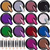 Duufin 14 Boîtes Poudre Miroir Ongle Chromé Pigment avec 14 Pièces Fard À Paupières Bâtons pour Nail Art