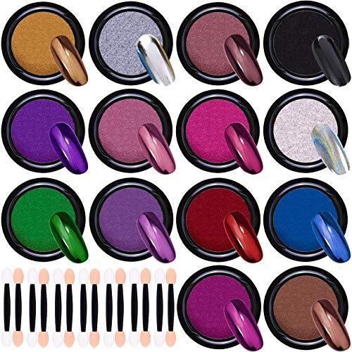 Duufin 14 Farben Chrome Pulver Nägel Spiegel Pulver Nagel Pigment für Nägel mit 14 Pcs Lidschatten Pinsel für Maniküre Kunstdekoration