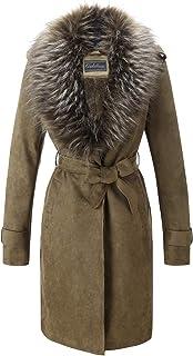 Giolshon Cardigan Trench Coat da Donna in Finta Pelle Scamosciata, Giacca Lunga con Collo in Pelliccia Sintetica