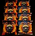 USA FIREFIGHTER RESCUE GAS MASK Flames 8 ACA Regulation Cornhole Bean Bags B218 by BackYardGamesUSA