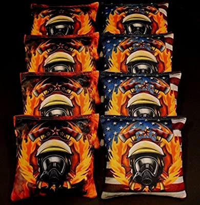USA FIREFIGHTER RESCUE GAS MASK Flames 8 ACA Regulation Cornhole Bean Bags B218 by BackYardGamesUSA
