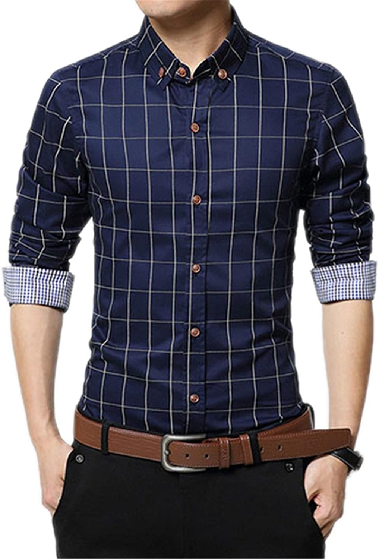 1a472801436f Slim Men's Long Sleeve Shirt Men's Men's Men's Plaid Cotton Casual Shirt  e4d873