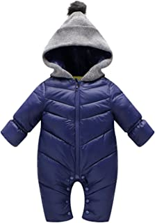 Happy Cherry Baby Winter Snowsuit Infant Hooded Outerwear Jumpsuit Newborn Romper Thick Coat