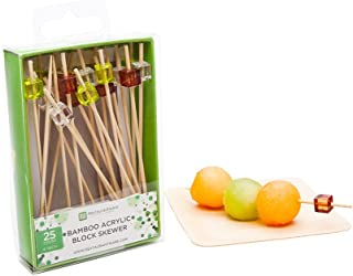 """Colored Block Picks, Acrylic Block Skewers, Food Picks, Sticks - 3.5"""" - Perfect for Serving Appetizers and Cocktail Garnis..."""