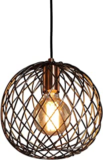 MSTAR Industrail Pendant Lights, Antique Copper Finished Globe Cage Lamp Shade Farmhouse Chandelier Ceiling Lighit Fixture for Kitchen/Dining Room/Bedsides/Living Room