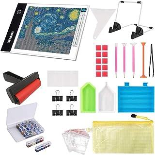 Wsdart 133PCS Diamond Painting A4 LED Light Pad Kit- Diamond Art Light Board with 5D Painting Tools, Apply to Full Drill &...