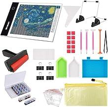 Ligtek 133PCS Diamond Painting A4 LED Light Pad Kit- Diamond Art Light Board with 5D Painting Tools, Apply to Full Drill &...
