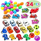 JOYIN 24 PCs Filled Easter Eggs with Toy Cars, 2.25'' Bright Colorful Easter Eggs Prefilled with Various Pull Back Vehicles and Friction Vehicles