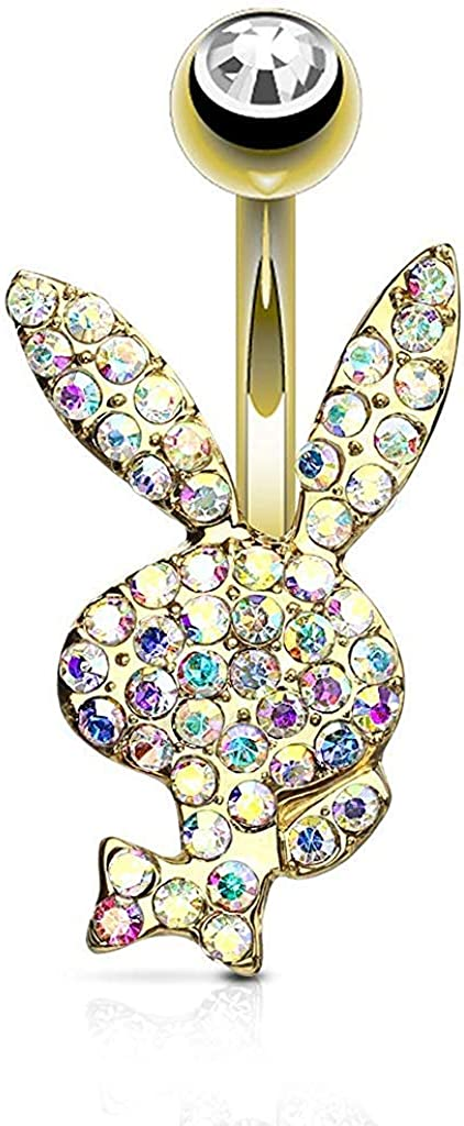 Playboy Crystal Paved Bunny Surgical Steel Belly Button Navel Rings
