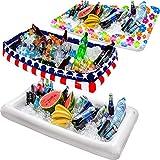 Barra de servir inflable para mesa de billar, bandeja de buffet grande con tapón de drenaje, mantiene tus ensaladas y bebidas frías, para fiestas, uso interior y exterior, accesorios para fiestas