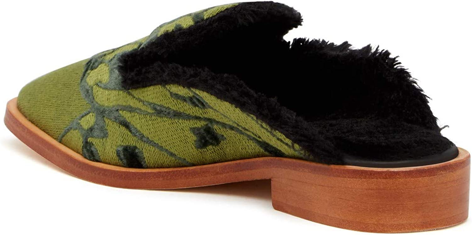 Free People Womens Butterfly Effect Faux Fur Square Toe Mules