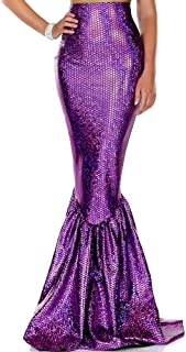 Women's Mermaid Skirt with Hologram Finish, Halloween Maxi Skirt