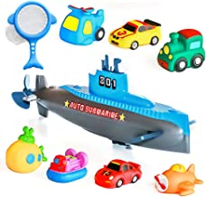 Submarine Bath Toys, 9 Pack Floating Wind Up Bathroom Toys Gift Sets, Car Squirt Toys with Fishing Net, Non-Toxic Rubber S...