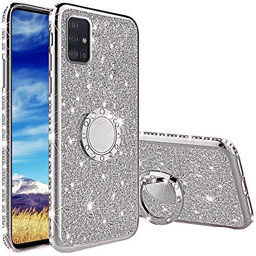 TVVT Kompatibel mit Samsung Galaxy A51 4G Hülle Glitzer, Glitter Diamant Handy Schutzhülle mit 360 Grad Ringhalter Magnetischer Autohalter Handyhülle Weich TPU Bumper Silikon - Silber