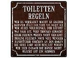 Schilderkönig Blechschild TOILETTEN Regeln 20x20cm großes Dekoschild Badregeln Schild für das Bad oder Gäste-WC