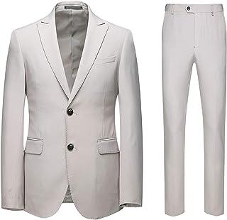 AOWOFS Men's Suits 2 Piece Slim Fit Casual Formal Wedding Tuxedo Suit for Men Blazer Jacket&Trouser