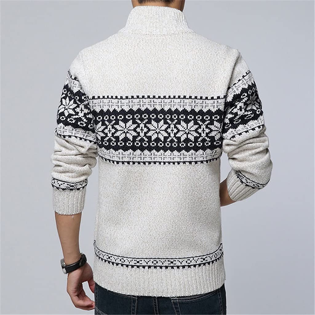 HLMSKD Autumn Winter Men's Sweater Wool Men Mandarin Collar Casual Sweater Men's Thick Fit Brand Knitted Cardigans (Color : White, Size : L Code)