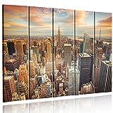 Feeby Frames, Quadro multipannello di 5 Pannelli, Quadro su Tela, Stampa Artistica, Canvas (New York, Tramonto, Arancione, Blu, Grau) 100x150 cm, Tipo C