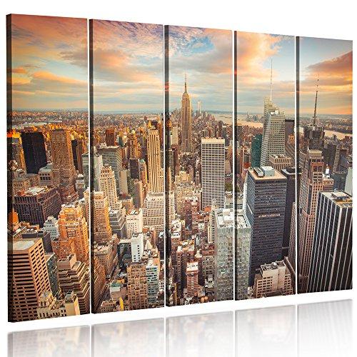 Feeby Frames, Quadro multipannello di 5 Pannelli, Quadro su Tela, Stampa Artistica, Canvas (New York, Tramonto, Arancione, Blu, Grau) 100x200 cm, Tipo C
