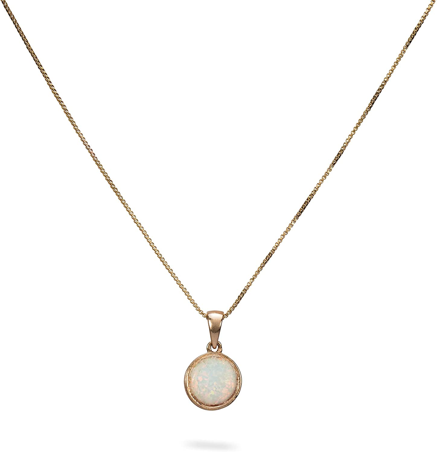 Avnis White Opal Necklace, 6MM Round Opal Pendant Gold Filled Necklace, Box Chain Pendant Necklace 16+2 Inches Extender for Women