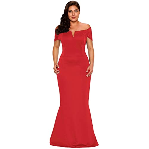 c962bc735ee Lalagen Women s Plus Size Off Shoulder Long Formal Party Dress Evening Gown