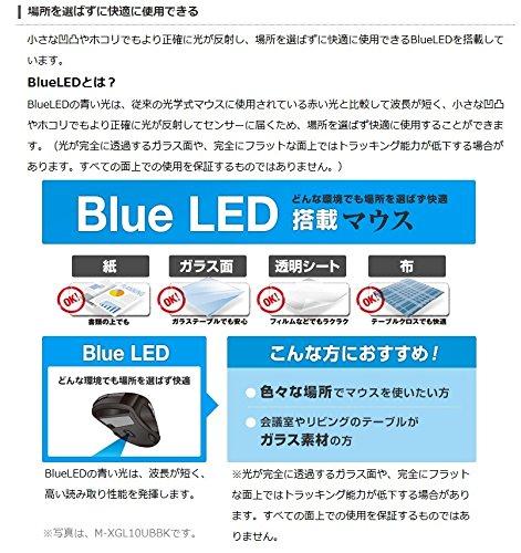 『エレコム マウス 有線 Lサイズ 5ボタン (戻る・進むボタン搭載) BlueLED 握りの極み レッド M-XGL10UBRD』の3枚目の画像