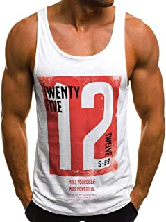 Men's Tank Tops Letter Print Muscle Gym Workout Fitness T-Shirts Vest
