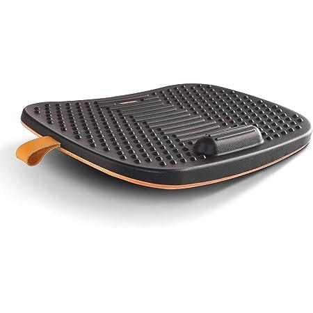 FEZIBO Standing Desk Mat with Anti Fatigue Bar, Wooden Wobble Balance Board with Ergonomic Design Comfort Floor Mat (Medium, Obsidian Black)