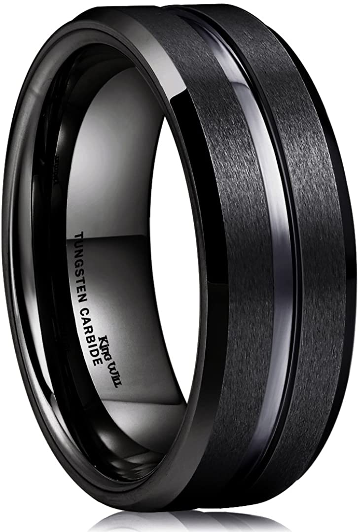 King Will Classic 8mm Tungsten Carbide Wedding Band Ring for Men Grooved Center Comfort Fit Black/Silver/Gold/Blue