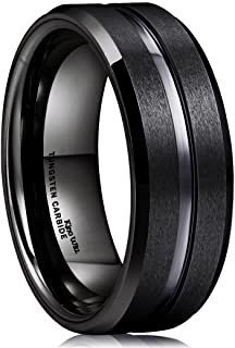 King Will Classic 7mm 8mm Black Tungsten/Titanium Wedding Band Ring Polished Finish Grooved Center Comfort Fit