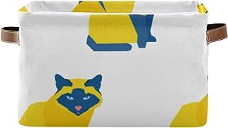 Paniers de rangement Boîte de rangement pour organisateur de placard à motif de chat fait à la main abstrait avec poignée ...