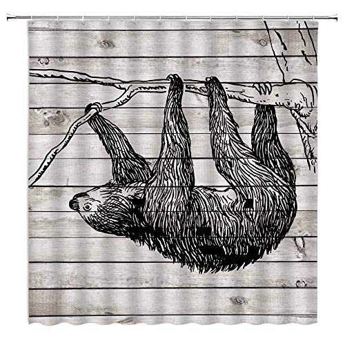 Cute Sloth Shower Curtain Rustic Wooden Board Sloth On The Tree Farmhouse Cute Funny Country Wild Animal Kids Creative Art Vintage Plank Fabric Bathroom Curtain Set 70x70 Inch with Hooks