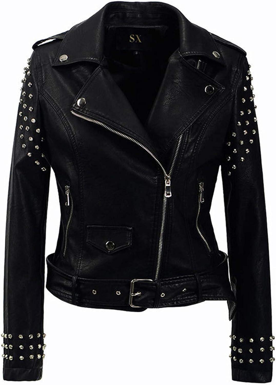 Cheryl Bull Trendy Women Rivet Motorcycle PU Faux Leather Jacket Studded Outerwear Streetwear Jackets