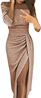 Damas Moda Bolso Cadera Cuello Abierto Vestido Brillante Vestido de Cristal Vestido de Noche Vestido de Noche Fiesta Fiest...