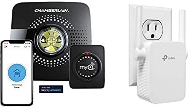 MyQ Smart Garage Door Opener Chamberlain MYQ-G0301 - Wireless with N300 WiFi Range Extender, Up to 300Mbps, WiFi Extender, Repeater, External Antennas & Compact Designed Internet Booster