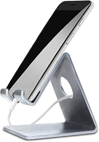 ELV Desktop Cell Phone Stand Tablet Stand, Aluminum Stand Holder for Mobile Phone (All Size) and Tablet (Up to 10.1 i...