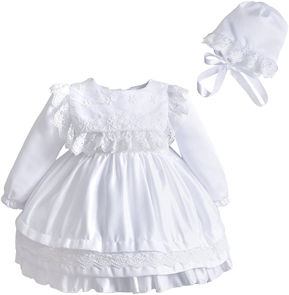 Baby Girl Lace Square Spring new work Bib Long favorite D Baptism Sleeve Christening Gown