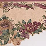 Fleurs violettes sur Vigne Bird Nest Beige Farmhouse Frise papier peint Motif rustique, rouleau de 15'x 25,4cm