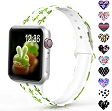 Sunnywoo Sport Band Compatible with Apple Watch 38mm 40mm 42mm 44mm, Narrow Soft Fadeless Floral Silicone Slim Thin Replacement Wristband for iWatch Series 4/3/2/1 Women Men