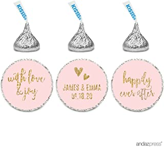 Andaz Press Blush Pink Gold Glitter Print Wedding Collection, Personalized Chocolate Drop Label Stickers Trio, 216-Pack, Custom Name, Fits Hershey's Kisses Party Favors