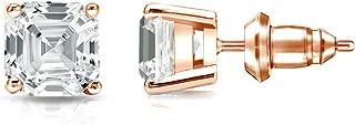 14k Gold 4-Prong Basket Asscher Diamond Men Stud Earrings (1/2-2ct,White,SI2-I1) Secure Lock Back