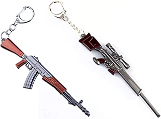 2PC Random Pack of Key Chains Pendant, Metal Weapon Gun Shaped Keychain & Rings for Men (4.5 Inches 2PCS)