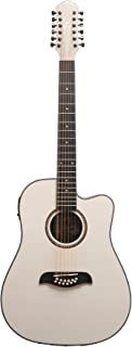 Oscar Schmidt OD312CEWH 12-Strings Acoustic Electric Guitar with Barcus Berry EQ4T Preamp System - White