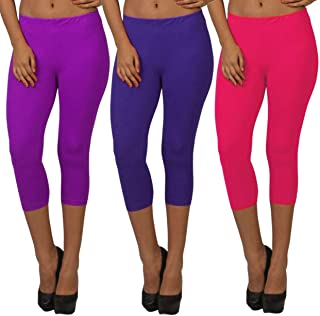Fablab Women Skin Tight Capris Capri_CLS_190-3-19PuBlP,PurpleBluePink,Free Size Combo Pack of 3.