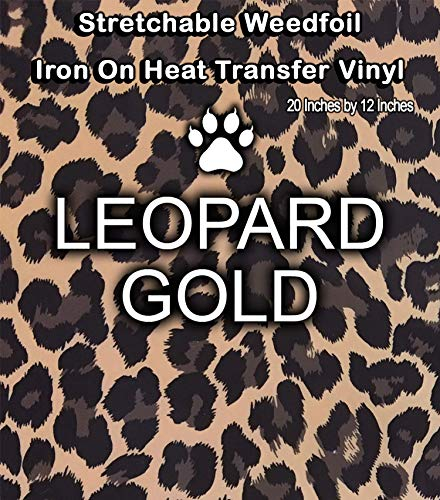 Stretchable WeedFoil Iron On Heat Transfer Vinyl 20 x 12 Sheets - Leopard Gold